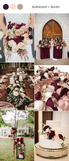 rustic burgundy and blush wedding color ideas
