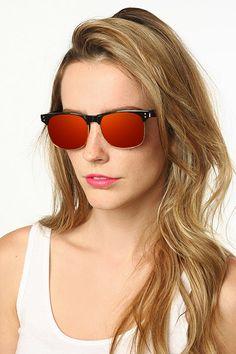 'Horizon' Color Mirror Clubmaster Sunglasses - Black/Gold/Green - 5375-4