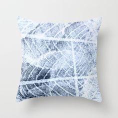 frost Throw Pillow by clemm - $20.00 #frost,#winter,#leaf,#abstract,#blue,#grey,#white,