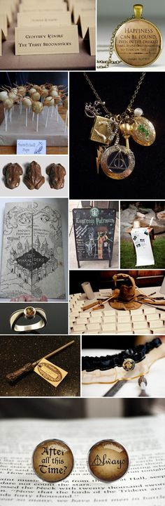 Harry Potter Theme - I love that pocket watch. If you were going to a Harry Potter party, it would be a lovely little gesture. Objet Harry Potter, Deco Harry Potter, Theme Harry Potter, Harry Potter Wedding, Geek Wedding, Dream Wedding, Trendy Wedding, Wedding Vows, Wedding Blog