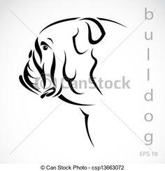 Vector image of an dog (bulldog) on white background Poster Bulldog Mascot, Bulldog Puppies, Mini English Bulldogs, Bulldog Tattoo, Dog With Glasses, Modeling Tips, Cricut Explore Air, Tattoo Stencils, Pontoon Boat