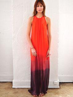 Awaken Dress Silk Ombre Tangerine to Indigo by jillaikoyee on Etsy, 395.00