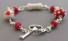 Red Hot Lampwork Dog Lover Bracelet Heart Bone Crystal Silver - handmade by For Love of a Dog
