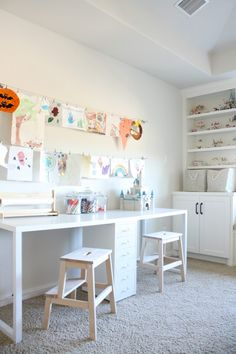 Playroom Makeover with Built Ins - Crazy Wonderful Playroom Makeover, playroom craft table, kids art display<br> Playroom makeover with built in window seat, storage cabinets, and Lego display ideas. This toy storage has changed our lives! Ikea Playroom, Playroom Organization, Playroom Design, Office Playroom, Playroom Ideas, Playroom Table, Kids Playroom Furniture, Kids Playroom Storage, Furniture Sets