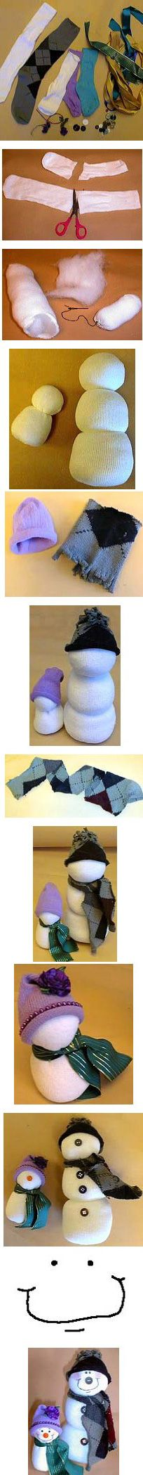 (Almost) No-Sew Sock Snowmen ~ What to do with all those single socks