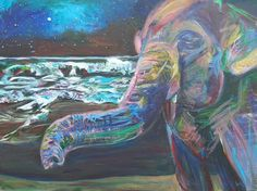 """Painting, """"Wake Up Call"""" Save The Elephants, Wake Up Call, Live Life, Saatchi Art, Original Paintings, Call Art, Canvas, Artist, Projection Alarm Clock"""