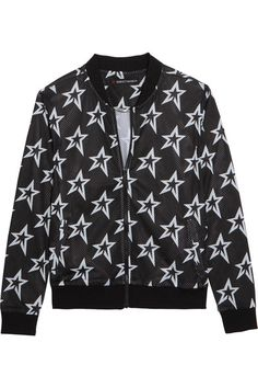 Perfect Moment - Printed Stretch-mesh Bomber Jacket - Black - x large