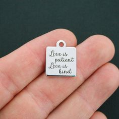 Love Stainless Steel Charm Love is Patient by BohemianFindings