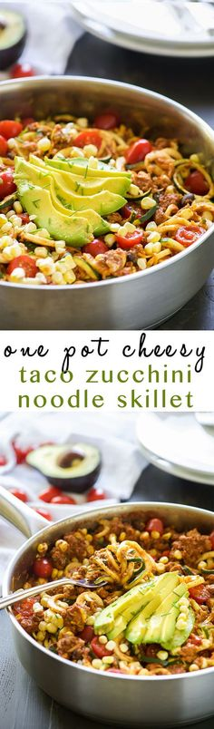 One Pot Cheesy Taco Zucchini Noodle Skillet is a healthy spin on Taco Tuesday! Zucchini noodles, enchilada spiced ground turkey, black beans, corn and creamy avocado help makeover this dish! (healthy pasta recipes with ground turkey) Zucchini Noodle Recipes, Zoodle Recipes, Healthy Zucchini, Spiralizer Recipes, Mexican Zucchini, Zucchini Cheese, Tostada Recipes, Stuffed Zucchini, Zucchini Boats