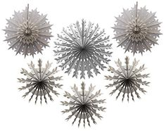 Light gray tissue paper snowflakes, made in the USA  by Devra Party