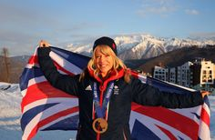 Jenny Jones celebrating her bronze medal win in the snowboard slope style competition at the Sochi winter Olympic Games.  http://www.teamgb.com/games/sochi-2014