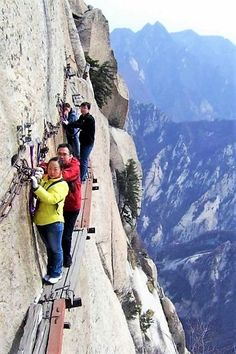 "China's Hua Shan plank walk , often dubbed ""the most dangerous hike in the world"". 