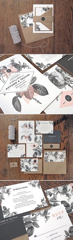 floral stationery | black and white wedding | kraft paper invites | Rachel Marvin Creative | #weddingchicks: