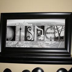 DISNEY with Walt Disney World map background ((Alphabet Photography Letter Art Print)) 10 by 20. $30.00, via Etsy.