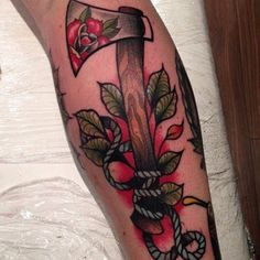 Image result for neo traditional tattoo axe #TraditionalTattoos