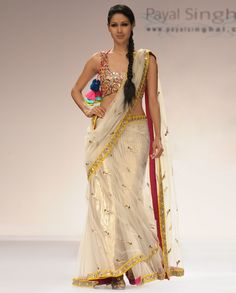 Net Sari and Choli with Mirror Work - Buy India In Color By Payal Singhal* Online | Exclusively.in