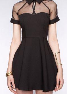 Fashion A Line Black Mesh Paned Short Sleeve Sexy Dress