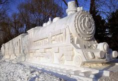 Train Snow Sculpture: This is just one of several images of snow sculptures. You can find more links to snow sculptures on my Art in Sculpture board too. I pinned this one to Art in the Real World. Snow Sculptures, Art Sculpture, Sculpture Ideas, Harbin, Winter Wonder, Winter Fun, Ice Art, I Love Snow, Snow Art