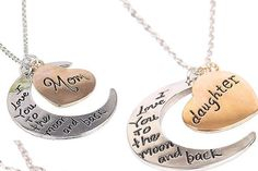 Mom & Daughter 2pc Necklace Set Love You To The Moon & Back Mothers Day Grad #Handmade #Pendant