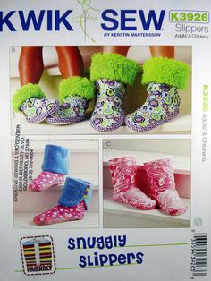 Kwik Sew Pattern 3926, Slippers, Adults' and Childrens' Snuggly Slippers, Sewing Pattern, Sizes XS, S, M, L, XL, New, Uncut by Allyssecondattic on Etsy