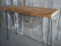 """32"""" x 11.5 x 30 tall Industrial Console table with sliding locker basket mid century styled hairpin legs, free shipping. $325.00, via Etsy."""