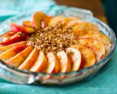 Fresh Nectarine Summer Custard Pie. Walnut-Oat Crumble. No-Bake.