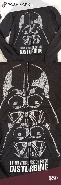 Disney Stars Wars Darth Vader Hoodie Men's Size tag reads L but my husband is a medium and this fits him perfect.  Any questions feel free to ask.  Dark gray color very GUC Star Wars Shirts Sweatshirts & Hoodies