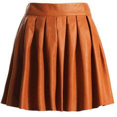 Alice + Olivia Box Pleat Leather Skirt ($396) ❤ liked on Polyvore