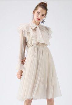 4ae4b0f65a5 Evocative Tie Neck Sheer Dress in Cream - DRESS - Retro