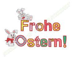 Stickmuster - Stickdatei / Stickmuster Frohe Ostern 14 x 25 - ein Designerstück von Forstis-Stickwelt bei DaWanda