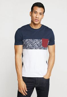 Pier One - Print T-shirt - dark blue Best T Shirt Designs, Textiles, Summer Outfits, Summer Clothes, Fashion 2020, Fabric Material, Shirt Style, Tees, Shirts