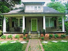 Green front door grey house lime green and foliage ideas for painting your front door color inspiration update Bungalow Exterior, Bungalow Homes, Craftsman Bungalows, Cottage Exterior, Green Front Doors, Front Door Colors, Cottages And Bungalows, Best Paint Colors, Grey Houses