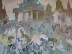 Morning of Pagoda  (2006) by U Lun Gywe - oil on canvas