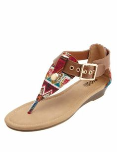 cade659d806612 Tribal Print Canvas Thong Sandals  Charlotte Russe