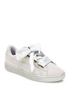 newest 796ce 0ce40 PUMA - Basket Heart Suedeand Satin Sneakers Satin Shoes, Grey Shoes, Suede  Shoes,