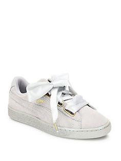 cd9609d43ec PUMA - Basket Heart Suedeand Satin Sneakers Puma Heart