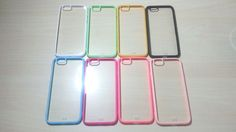 For Apple iPhone 6 (4.7 inches) Silicone Bumper & Clear Hard Plastic Case