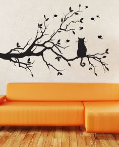 WALL ART DECAL STICKER BIRDS AND CAT ON TREE BRANCHES