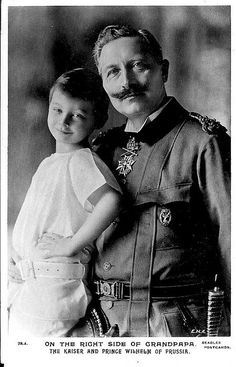 Prince Wilhelm, son of the Crown Prince of Prussia, with his grandfather, Kaiser Wilhelm II of Germany.