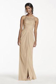 10420671 - Sleeveless Mesh Metallic Dress with Corded Lace