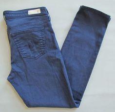 Adriano Goldschmied AG Jeans 29 Stevie Ankle Slim Straight Leg Navy Blue Denim #AGAdrianoGoldschmied #AnkleSlimSkinnyStraightLeg