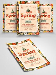 Spring Festival, Butterfly Design, Business Flyer, Seasons, Floral, Poster, Free, Bowtie Pattern, Seasons Of The Year