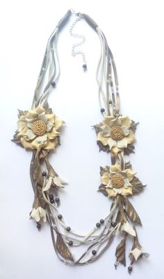 Jewelry leather necklace flower necklace от DreamsAboutSummer