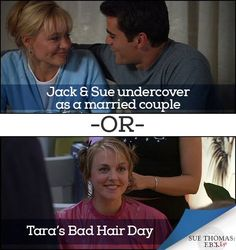 "Be Our Guest (Star) was our closest match-up yet, but the winner is: Howie.  Today's match-up is in our final category: ""Case by Case."" Which is your favorite? Jack and Sue undercover as a married couple or Tara's bad hair day? Vote now by commenting below.   At the end of the Bullpen Bracket, we will use the comments from all the match-ups and pick one US winner to receive an autographed script and the entire series on DVD."