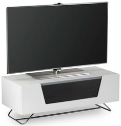 """Chromium 2 TV Stand in White For 50"""" by Alphason features a soft closing flip down door with IR friendly transparent glass. #Furniture #PriceCrashFurniture #LoungeAndLiving #Lounge #LivingRoom #Alphason #TVStand http://pricecrashfurniture.co.uk/chromium-2-tv-stand-in-white-for-50-by-alphason.html"""