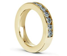Channel Diamond Wedding Ring in Yellow Gold (3/4 ctw)