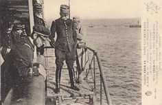 """WWI, Balkans, 1915; General Sarrail on board the """"Provence""""."""