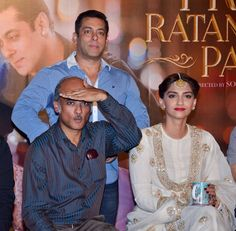 Salman Khan, Sooraj Barjayta and Sonam Kapoor at trailer launch of 'Prem Ratan Dhan Payo'. #Bollywood #PremRatanDhanPayo #PRDP #Fashion #Style #Beauty #Handsome #Desi
