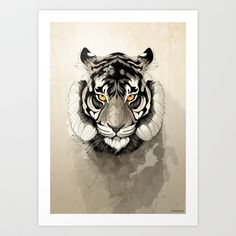 Hand-crafted metal posters designed by talented artists. We plant 10 trees for each purchased Displate. Art Tigre, Animals Tattoo, Geometric Nature, Geometric Animal, Nature Posters, Poster Prints, Art Prints, Poster Poster, Tattoo L