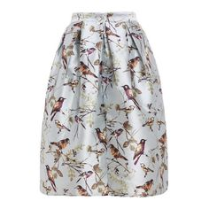 SheIn(sheinside) Bird Print Flare Skirt ($24) ❤ liked on Polyvore featuring skirts, patterned skater skirt, print maxi skirt, circle skirt, skater skirt and long maxi skirts